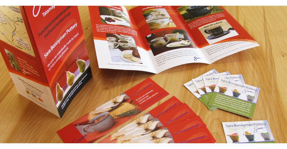 Sara Bonnyman Pottery brochures and product tags